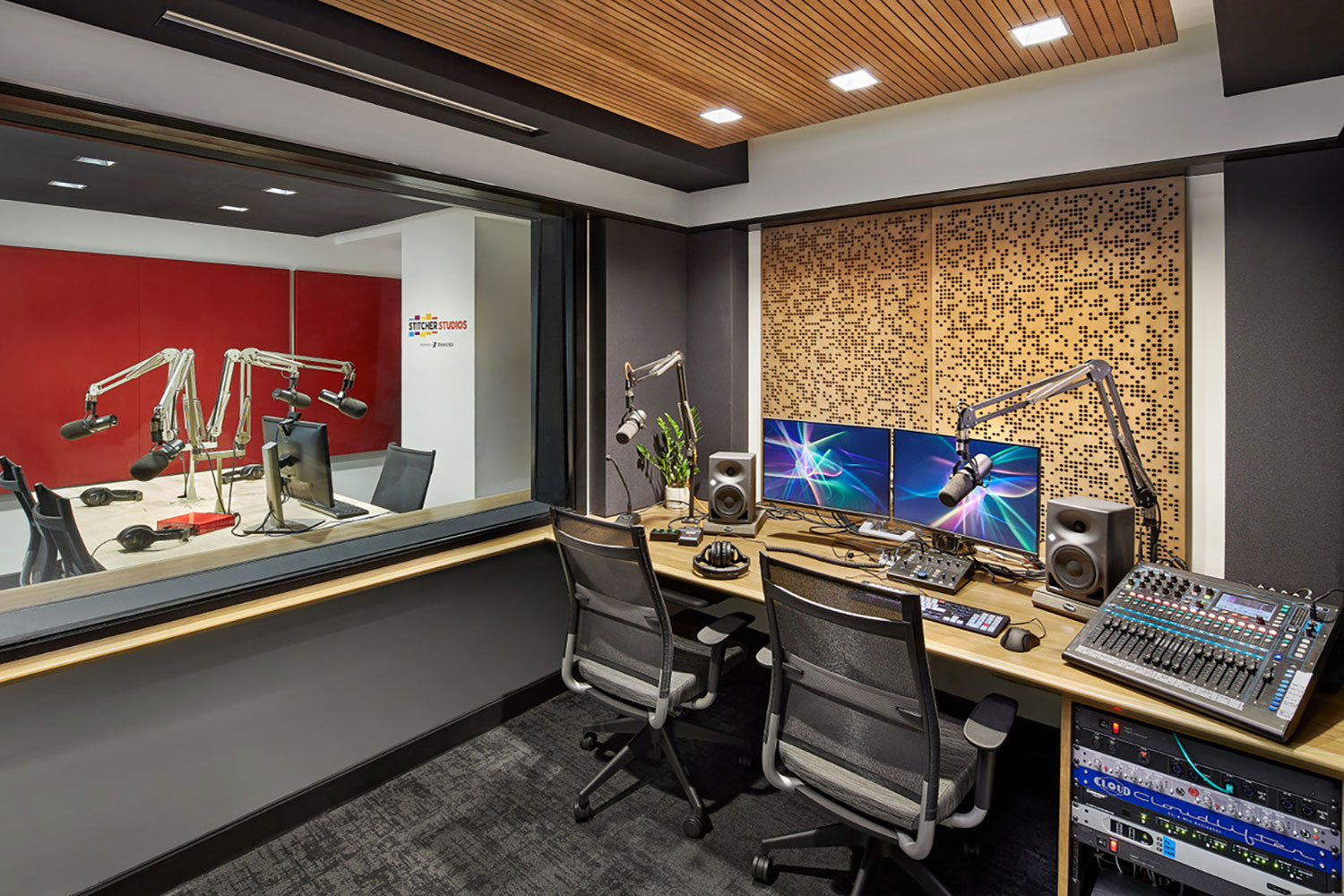 Stitcher is among the earliest, the most creative and most successful podcast creator companies. Their team made a move to build out larger production facilities in both its NY and LA offices and they chose WSDG to design their new podcast studios facilities. Control B.