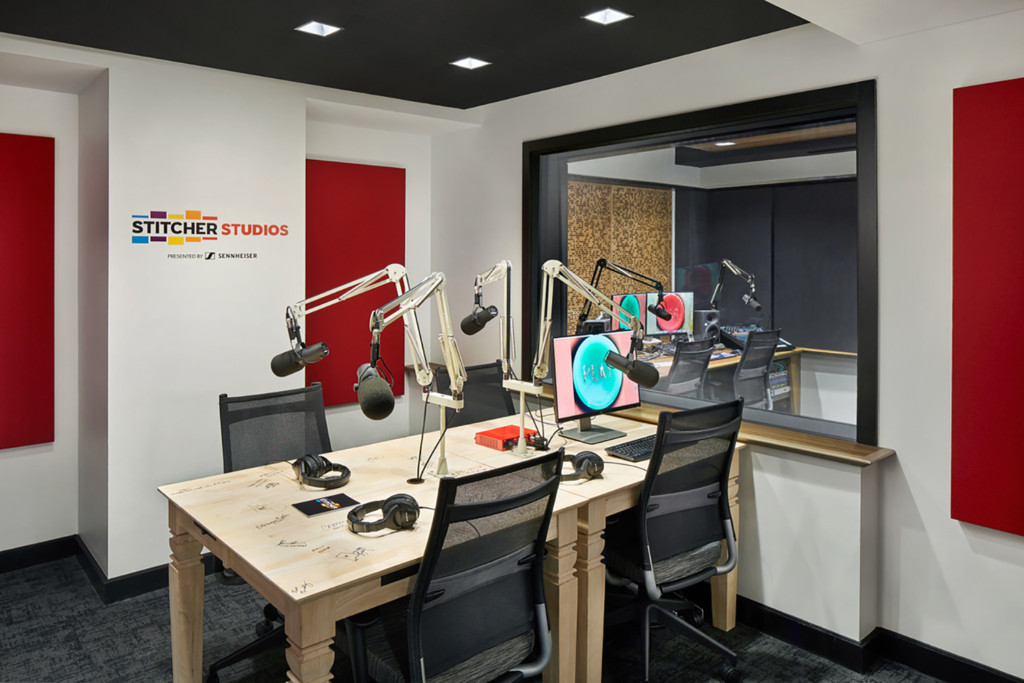 Stitcher is among the earliest, the most creative and most successful podcast creator companies. Their team made a move to build out larger production facilities in both its NY and LA offices and they chose WSDG to design their new podcast studios facilities. Studio B.