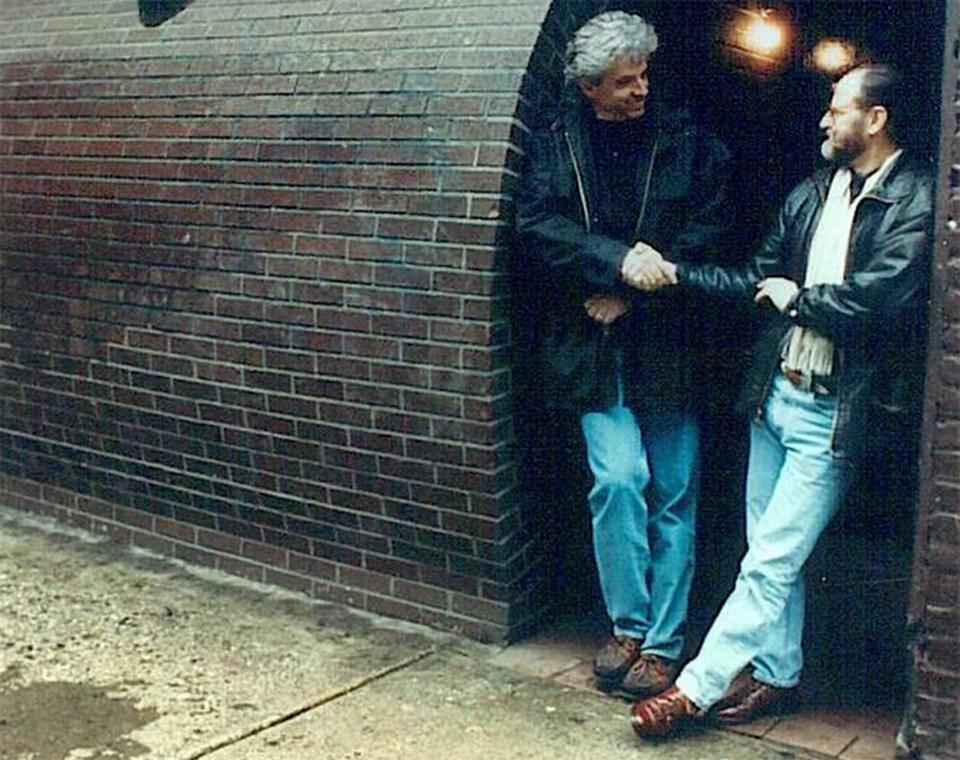 John Storyk and Eddie Kramer at Electric Lady Studios (NYC) original façade. Jimi Hendrix studio designed by WSDG.
