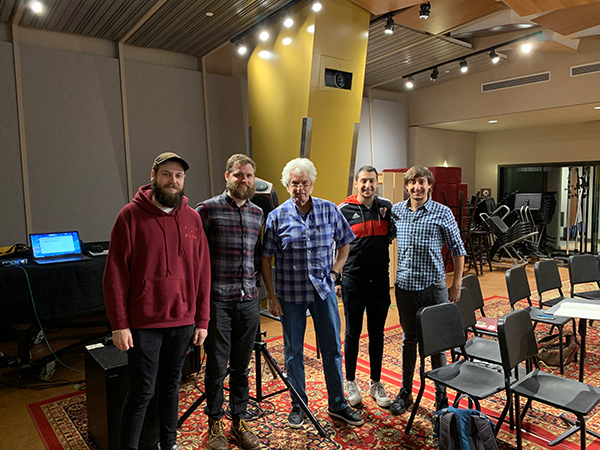 Storyk / Molho Family Professional Writing and Music Technology Scholarship Award Established at Berklee College of Music. John Storyk, David Molho, Ivan Molho, William Yeo, Arthur Palgi at Shames Scoring Stage.