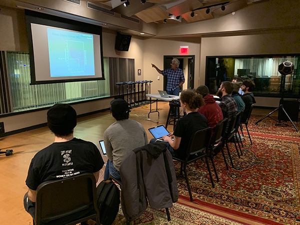 Storyk / Molho Family Professional Writing and Music Technology Scholarship Award Established at Berklee College of Music. John Storyk Studio Design Class at Shames Scoring Stage.
