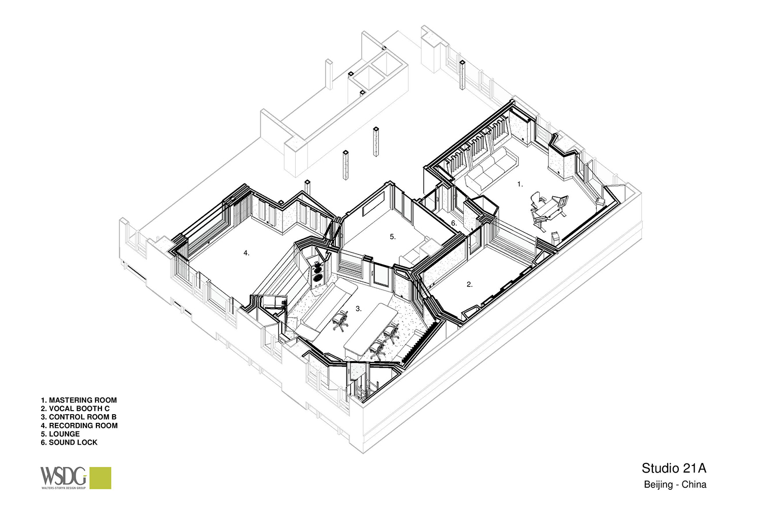Intrigued by WSDG's reputation in designing the best recording studios in the world, multi-talented recording and mixing engineer TC Zhou started a deep collaboration with our global team for his brand-new studio facility in Beijing, China. Axonometric View Presentation Drawing 1.