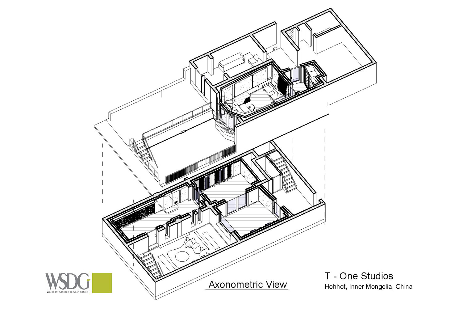 WSDG axonometric view for T-One Studios in Hohhot, China.
