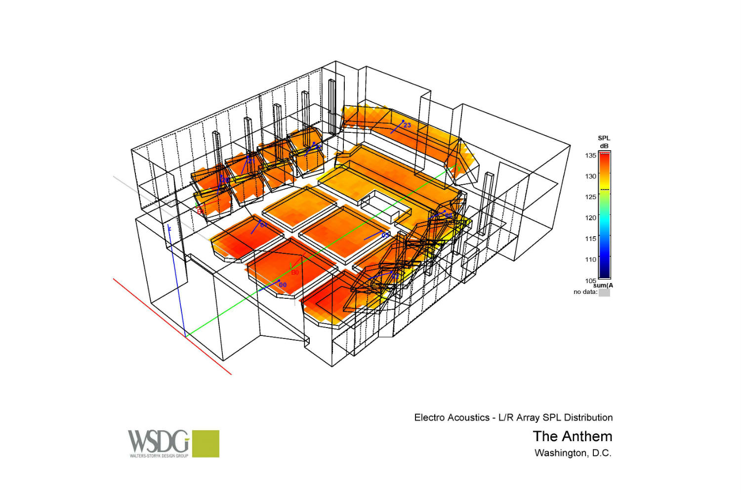 The Anthem, is a game-changing, multi-tiered concert hall created by impresario, Seth Hurwitz. To provide flawless acoustics, the WSDG team was commissioned to take care of the acoustic modeling and simulations. Presentation drawing 2