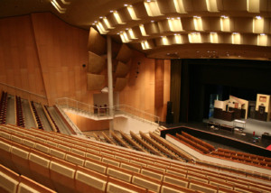 Scharoun-Theater in Wolfsburg, Germany. Electro-acoustics systems and media systems engineering provided by ADA-AMC, a WSDG Company. Theater main photo