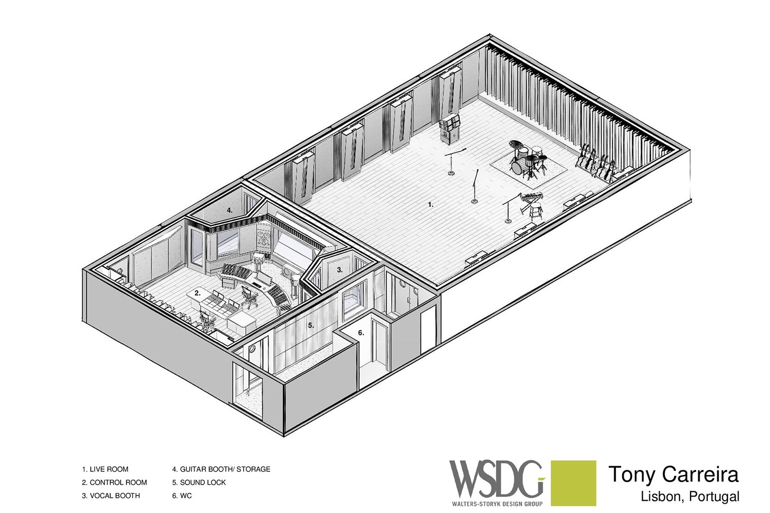 Tony Carreira Studios. WSDG was brought on to redesign the warehouse into a multi-functional recording facility with live streaming and video production capabilities. Axonometric View.