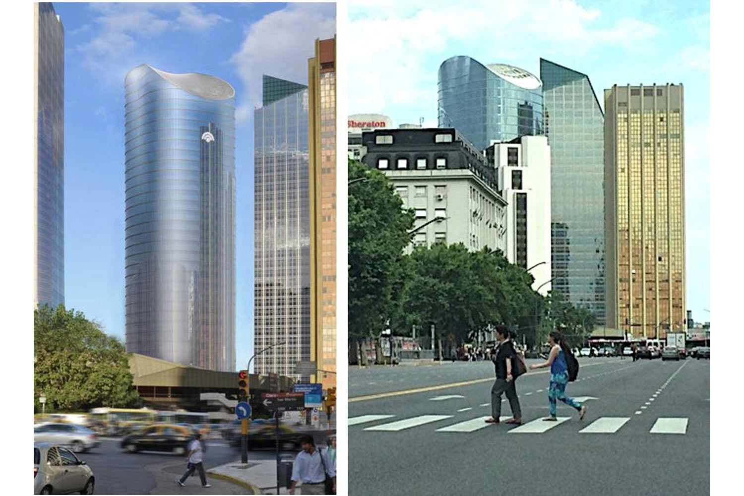 Torre Banco Macro in the Center of Buenos Aires, Argentina. Acoustics consulting and system integration by WSDG - Façade Render vs Real Photo