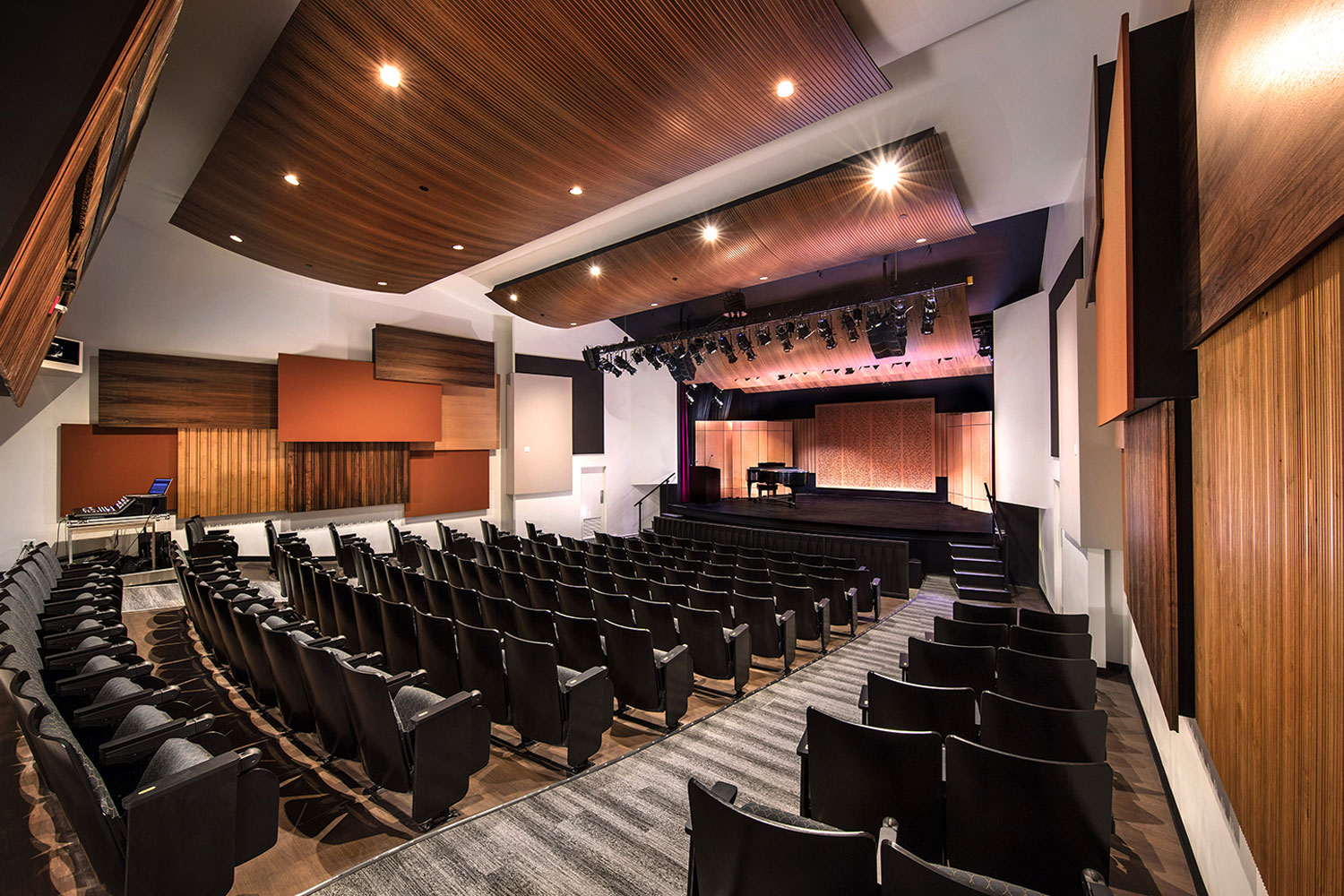 The Herb Alpert Foundation engaged WSDG to design the acoustics for a small on-campus live performance theater at the prestigious UCLA, with help of Lani Hall. Theater Side View, acoustic treatment.
