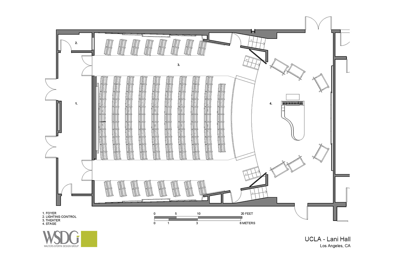 The Herb Alpert Foundation engaged WSDG to design the acoustics for a small on-campus live performance theater at the prestigious UCLA, with help of Lani Hall. Presentation drawing 1.
