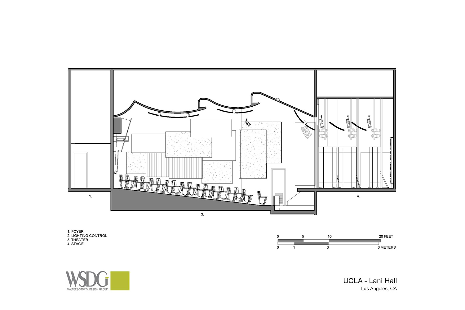 The Herb Alpert Foundation engaged WSDG to design the acoustics for a small on-campus live performance theater at the prestigious UCLA, with help of Lani Hall. Presentation drawing 2.