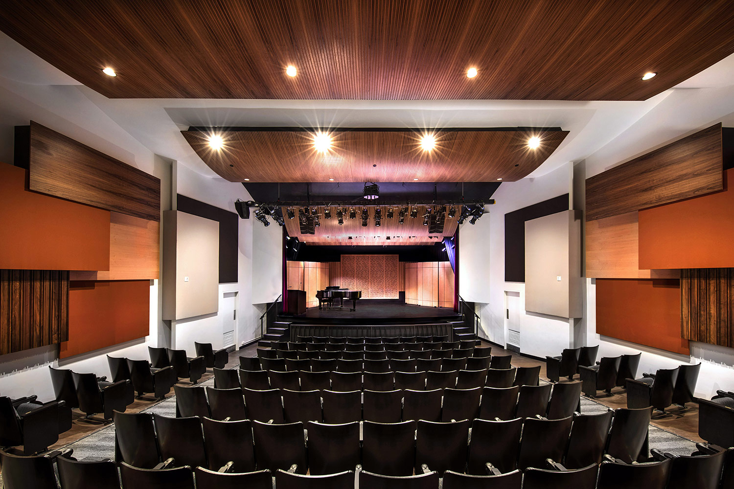 The Herb Alpert Foundation engaged WSDG to design the acoustics for a small on-campus live performance theater at the prestigious UCLA, with help of Lani Hall. Theater front view, perforated panels.