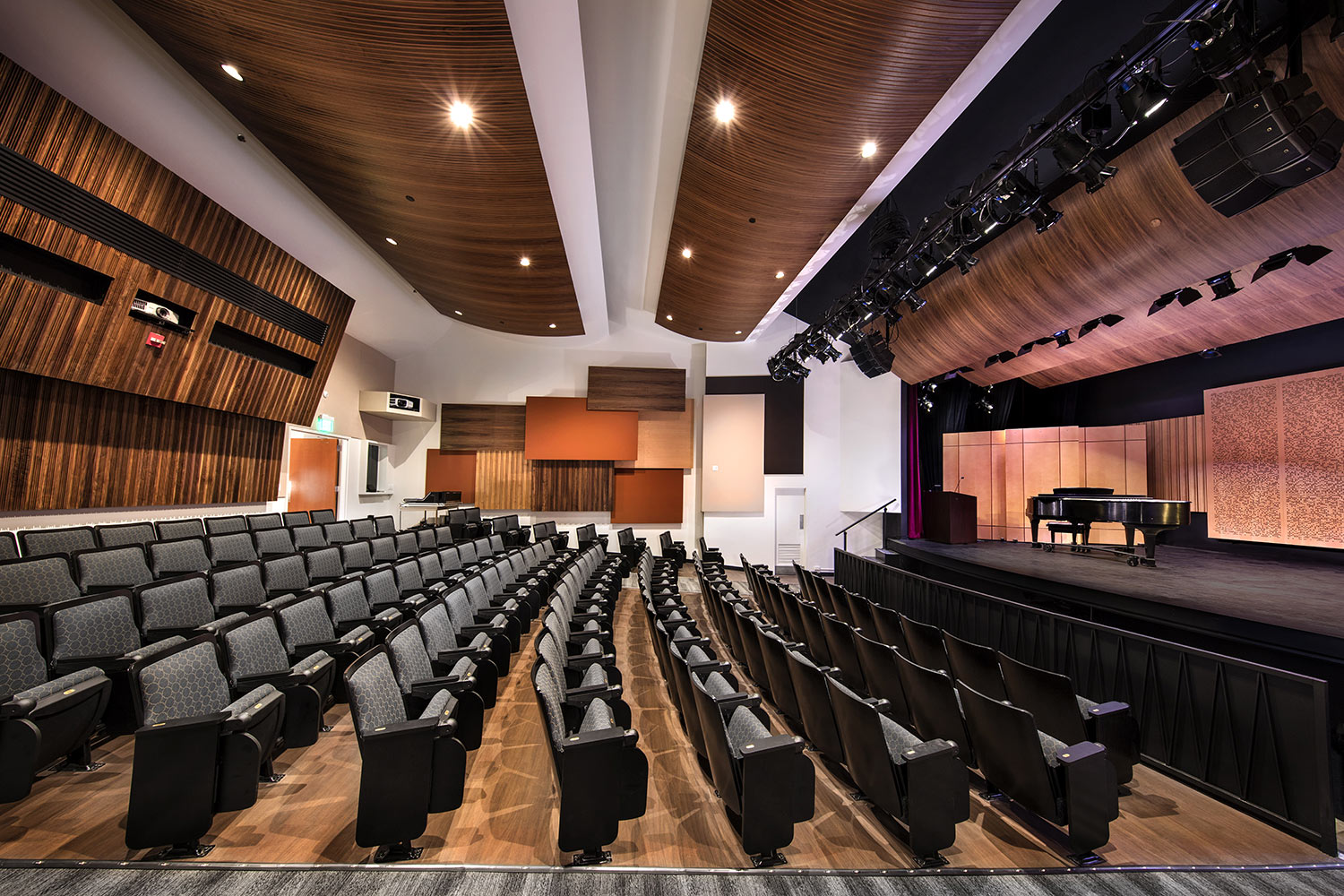 The Herb Alpert Foundation engaged WSDG to design the acoustics for a small on-campus live performance theater at the prestigious UCLA, with help of Lani Hall. Theater side view.