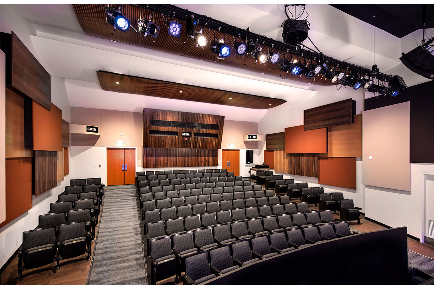 The Herb Alpert Foundation engaged WSDG to design the acoustics for a small on-campus live performance theater at the prestigious UCLA, with help of Lani Hall. Theater back view.