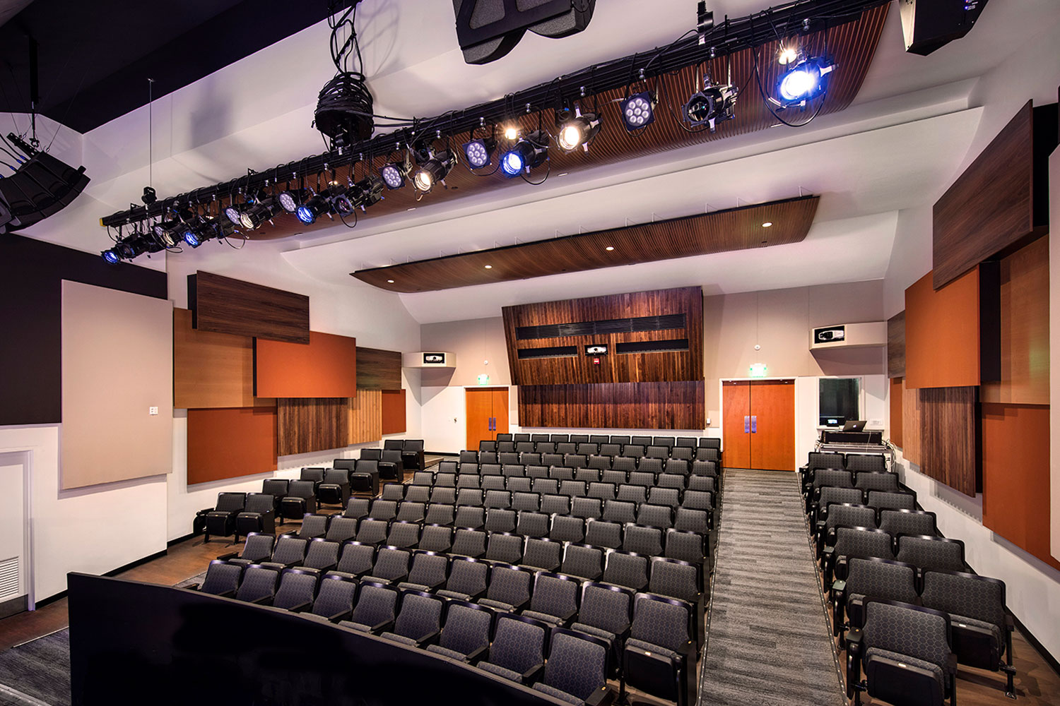 The Herb Alpert Foundation engaged WSDG to design the acoustics for a small on-campus live performance theater at the prestigious UCLA, with help of Lani Hall. Theater back view 2.