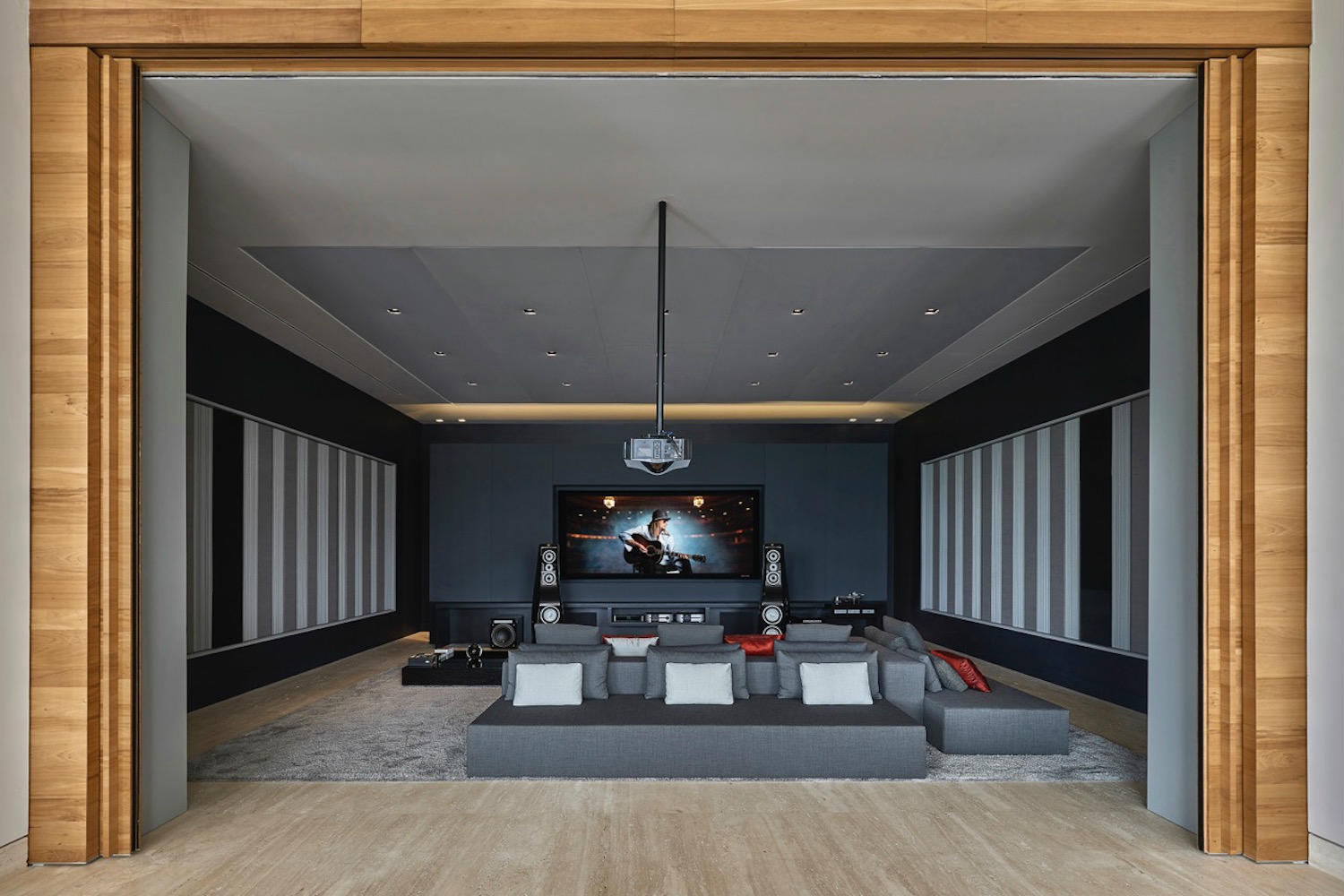 Theater room from rear doors. While open at The Ultimate Home Theater in Belo Horizonte, Brazil