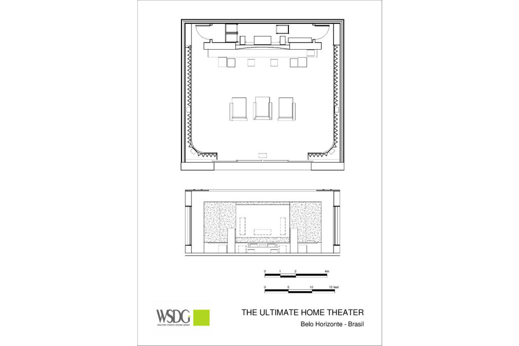 This ultra luxurious home in Belo Horizonte, Brazil had two primary requirements: The quintessence of advanced audio and video technology, and it was to be housed in the most sumptuous and acoustically pristine environment imaginable. Presentation drawing. WSDG Residential projects.