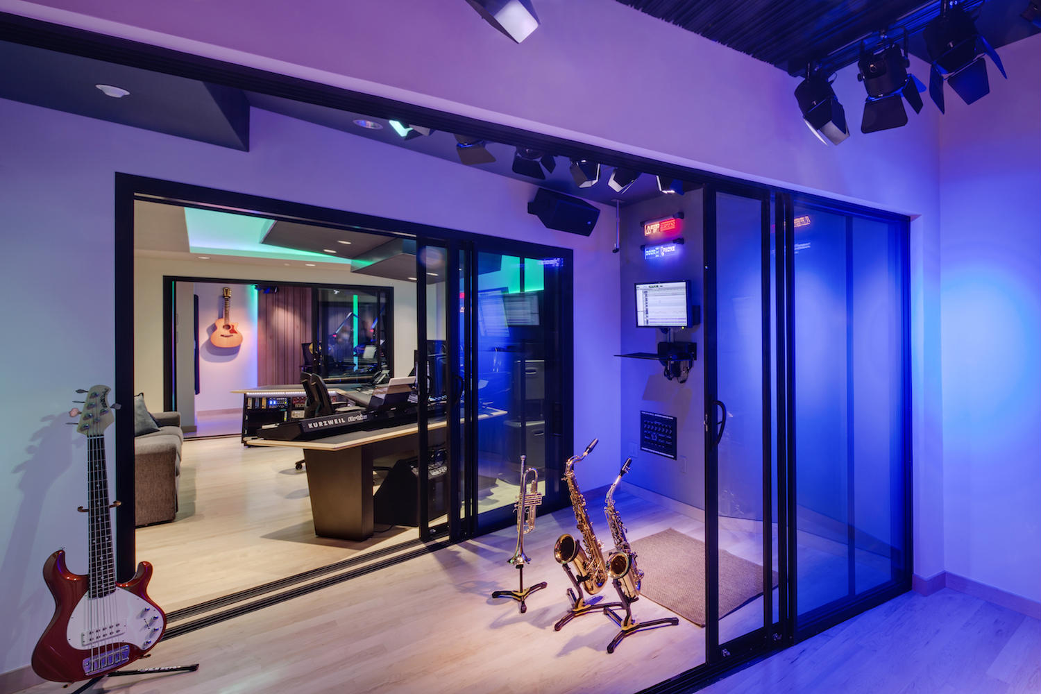 The MacPhails met WSDG to achieve a full up, professionally designed, acoustically superlative residential recording studio for their thriving audio production business. ISO Booths Connectivity.