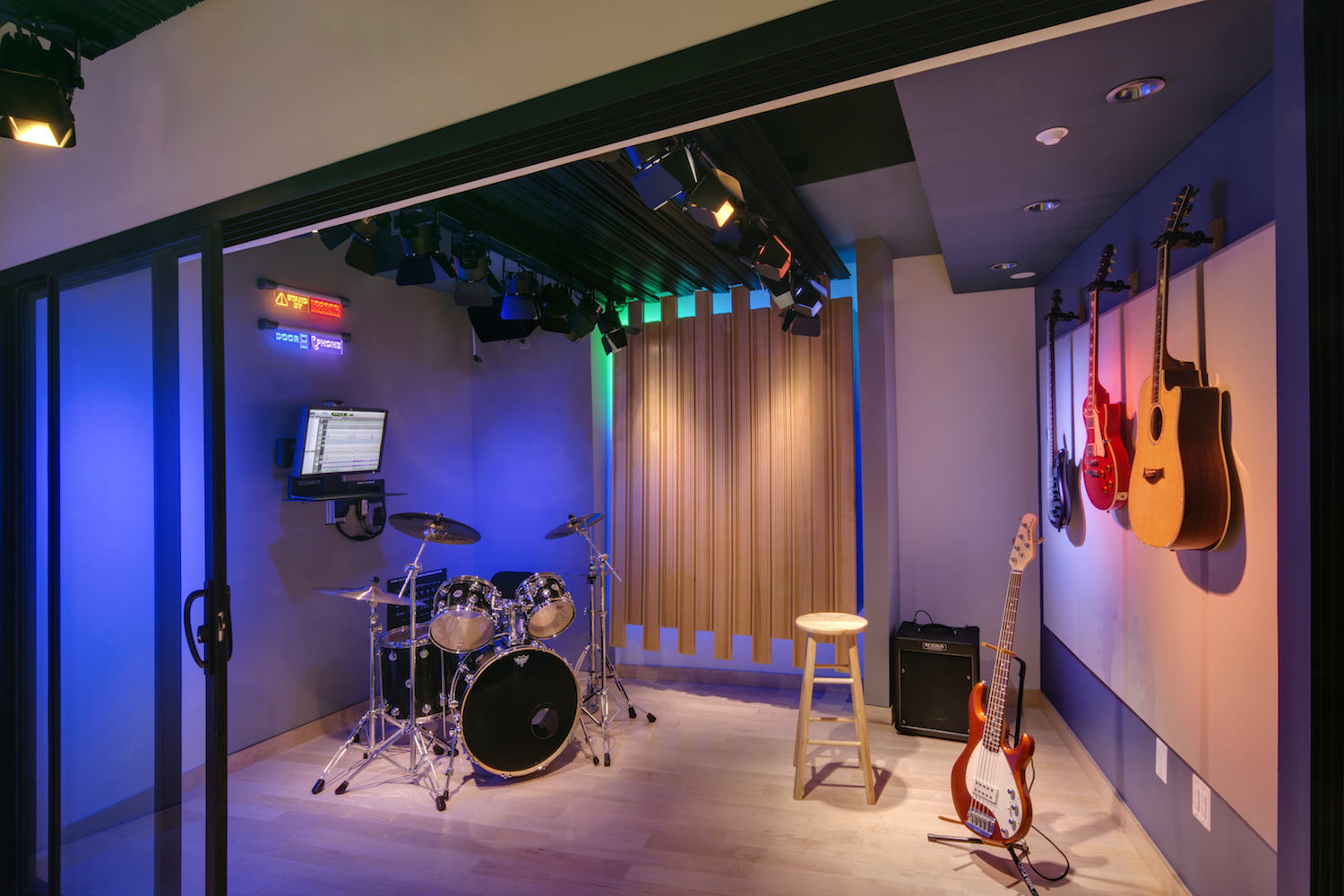 The MacPhails met WSDG to achieve a full up, professionally designed, acoustically superlative residential recording studio for their thriving audio production business. Live Room.