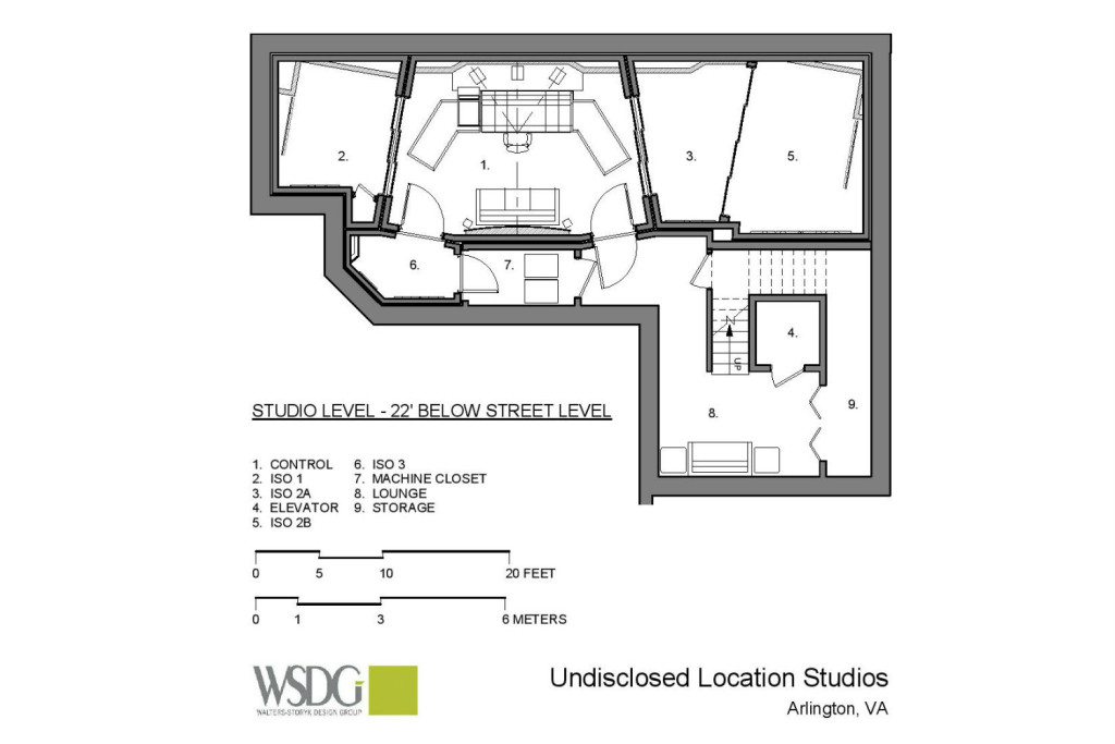 The MacPhails met WSDG to achieve a full up, professionally designed, acoustically superlative residential recording studio for their thriving audio production business. Presentation drawing 2.