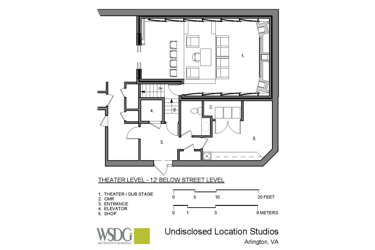 The MacPhails met WSDG to achieve a full up, professionally designed, acoustically superlative residential recording studio for their thriving audio production business. Presentation drawing 3 house.
