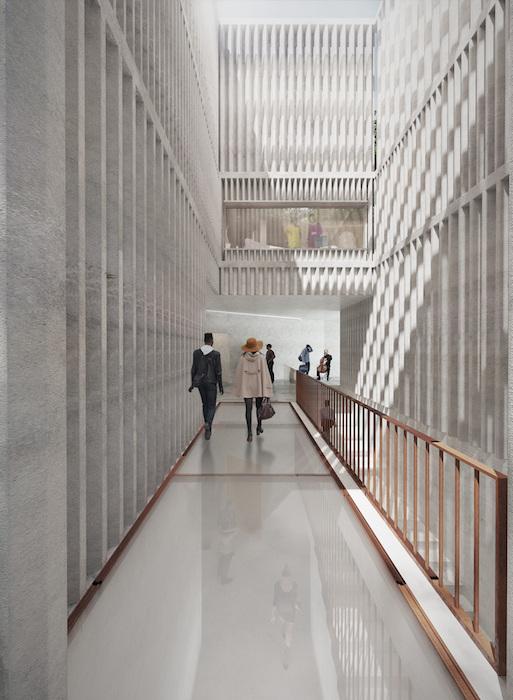 Interior del nuevo edifcio de practicas musicales de la Universidad de Los Andes en Bogota, Colombia. MOBO Architects & WSDG