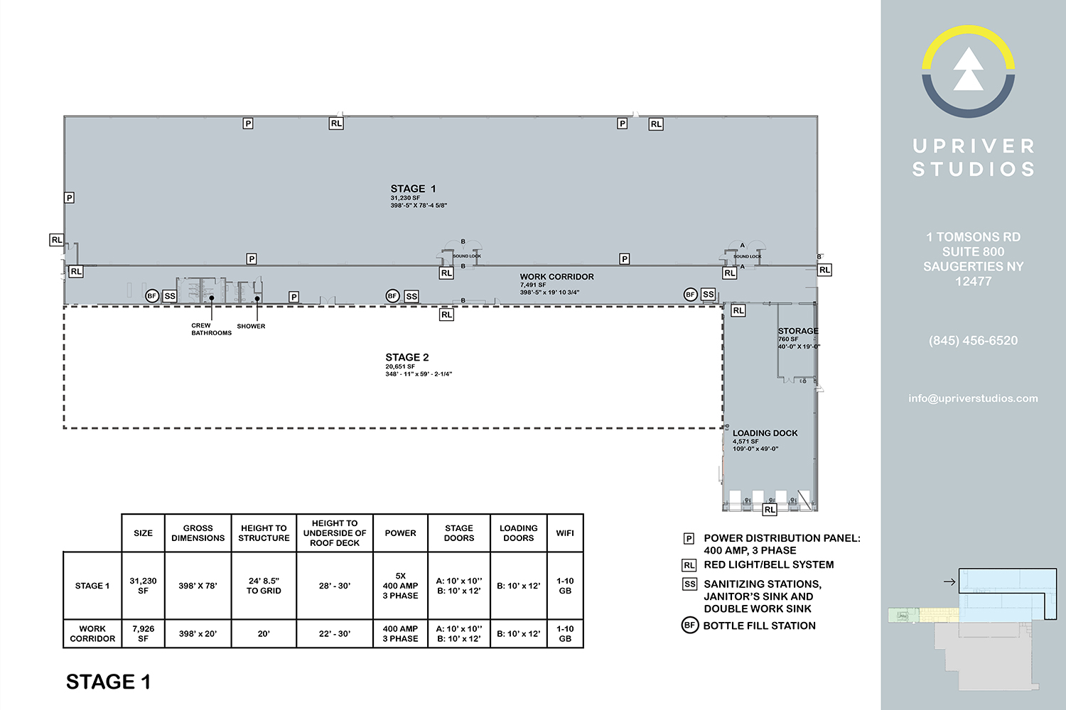 Upriver Studios owned by Masteron, Davenport and Wheeler-Nicholson. WSDG acoustic consulting. Stage 1 drawings and specifications.