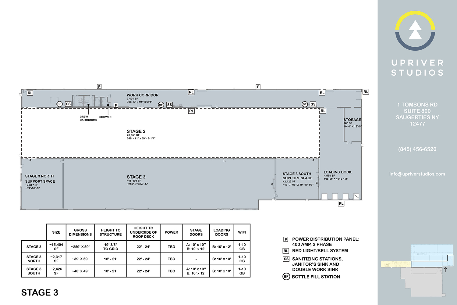 Upriver Studios owned by Masteron, Davenport and Wheeler-Nicholson. WSDG acoustic consulting. Stage 3 drawings and specifications.
