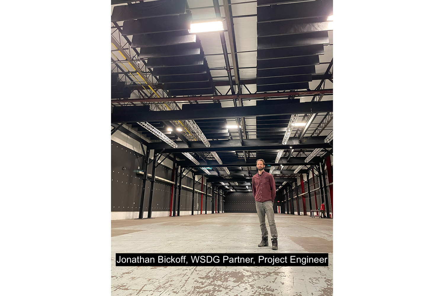 Jonathan Bickoff, WSDG Partner and Project Engineer, at the recently acoustically treated Upriver Studios.