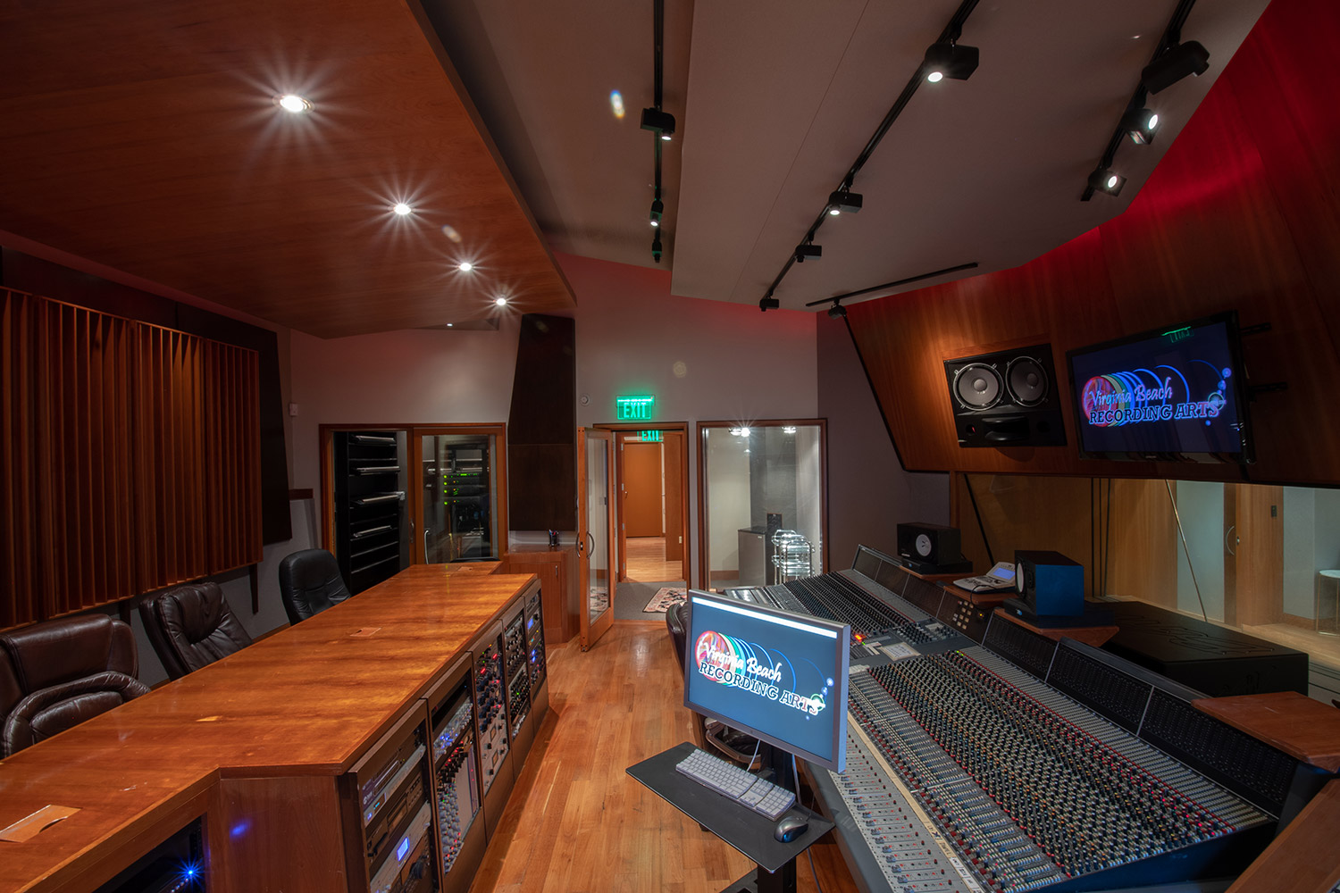 Former Thomas Crown Studio owned by Timbaland, Virginia Beach Recording Studio is a is a spacious 6,756 square ft. two-story 'destination studio' owned by Josh Haddad and designed by WSDG. One of the best recording studios in the world, where artist such as Pharrell, Kanye West, Beyonce and Justin Timberlake record. Control Room Side View.