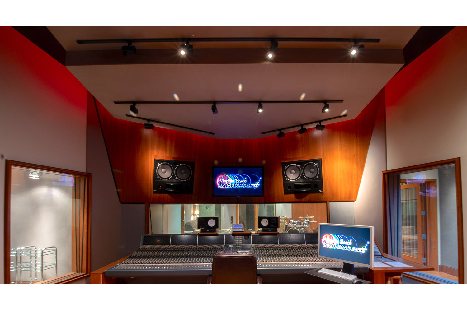 Former Thomas Crown Studio owned by Timbaland, Virginia Beach Recording Studio is a is a spacious 6,756 square ft. two-story 'destination studio' owned by Josh Haddad and designed by WSDG. One of the best recording studios in the world, where artist such as Pharrell, Kanye West, Beyonce and Justin Timberlake record. Control Room A Front View.