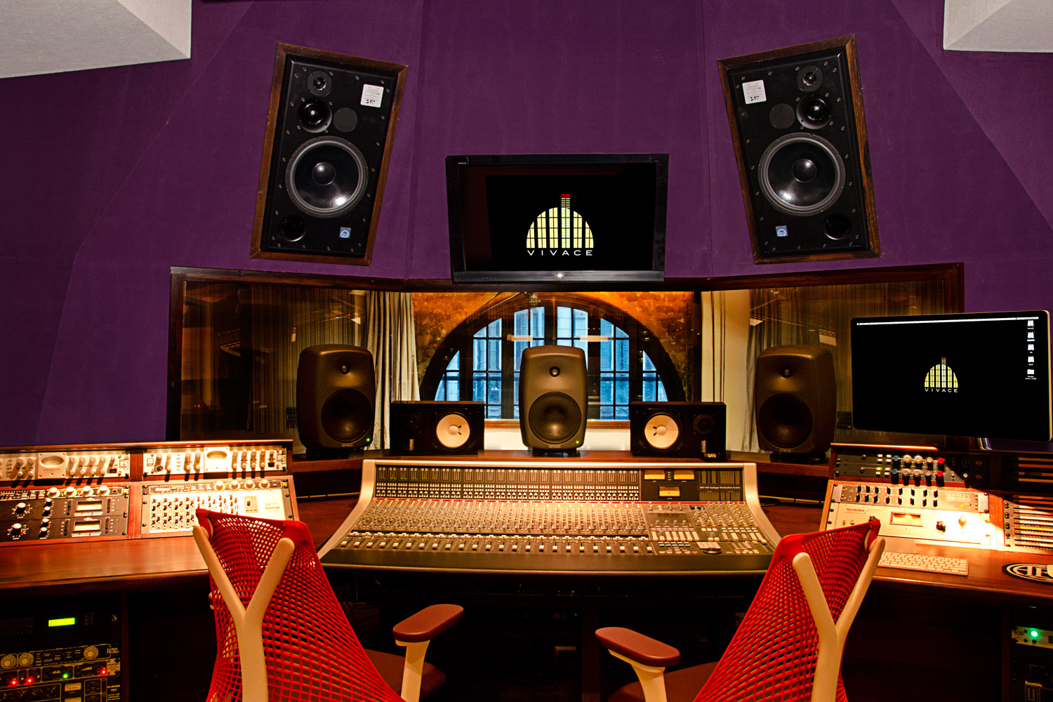 Vivace Music Studio in Montevideo, Uruguay. Professional recording studio designed and built by WSDG. Project manager WSDG partner Sergio Molho, and Representative Gonzalo Ruiz. Control Room A front view.