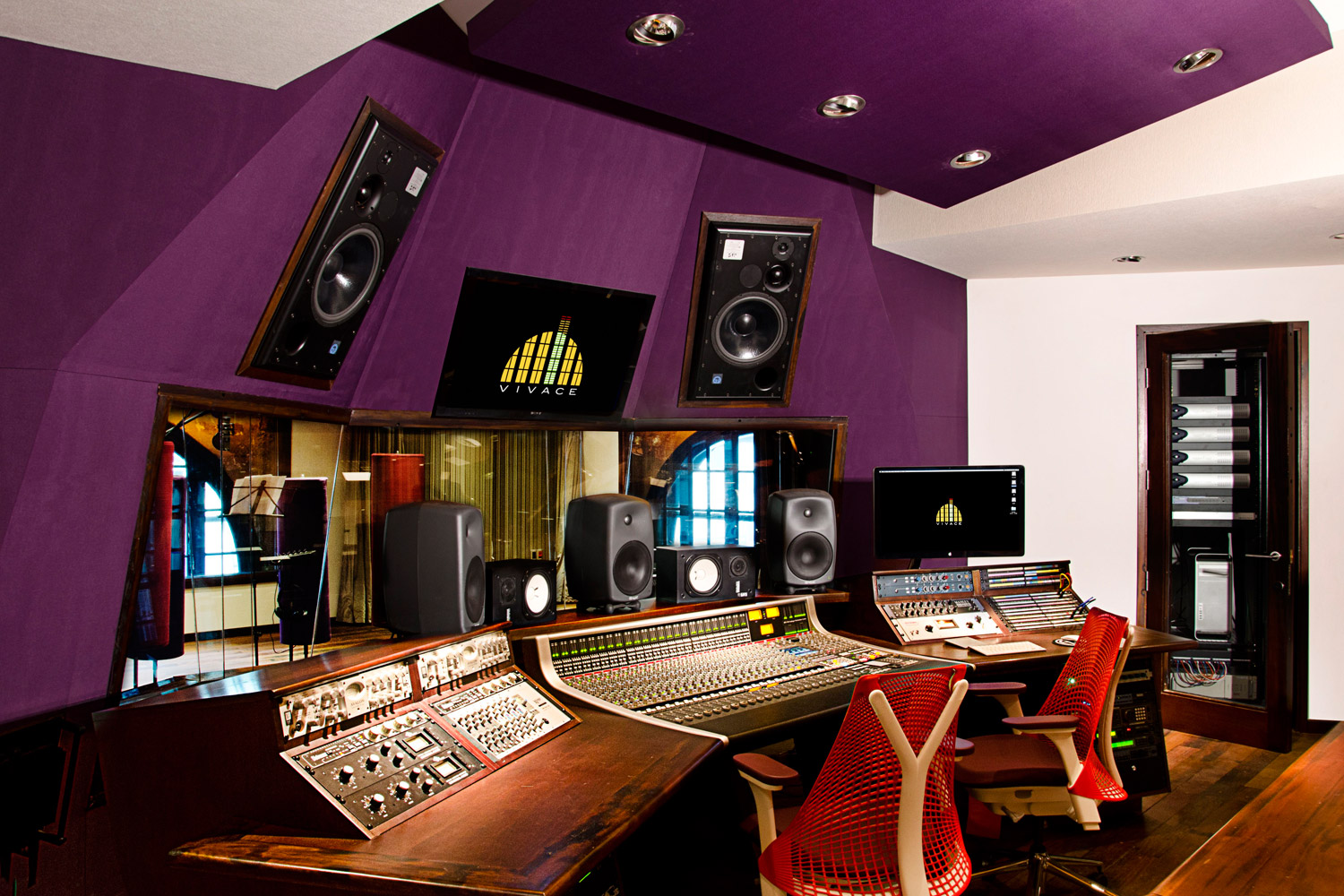 Vivace Music Studio in Montevideo, Uruguay. Professional recording studio designed and built by WSDG. Project manager WSDG partner Sergio Molho, and Representative Gonzalo Ruiz. Control Room A side view.