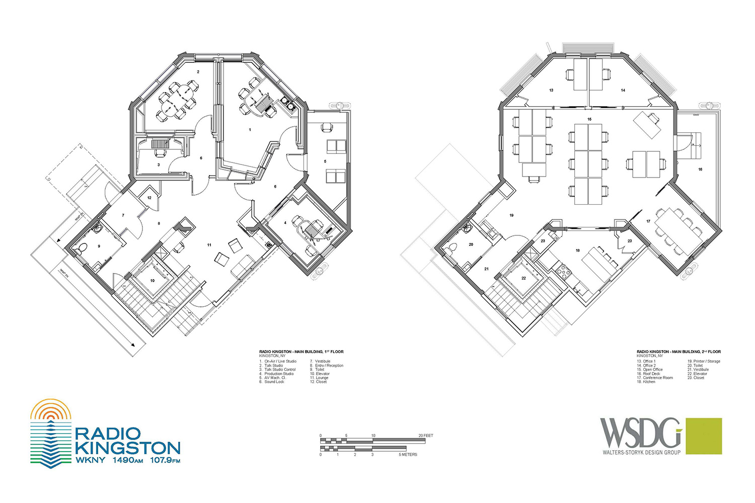 WSDG was retained to design a non-commercial contemporary broadcast/podcast facility for Radio Kingston WKNY new broadcast center. Presentation drawing two floors.