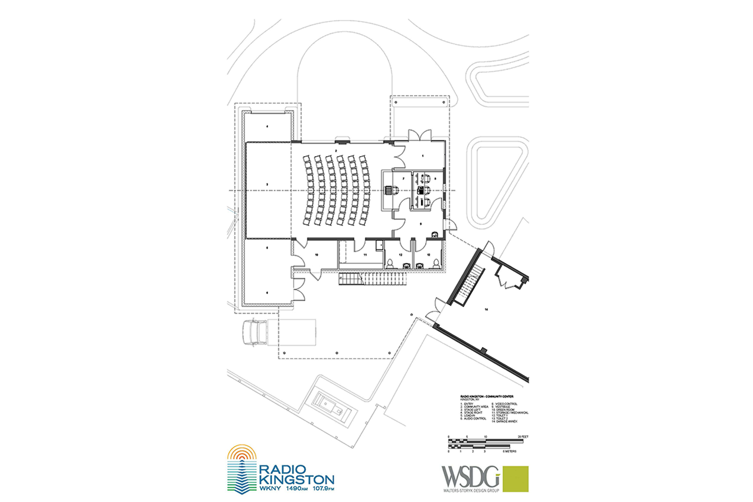 WSDG was retained to design a non-commercial contemporary broadcast/podcast facility for Radio Kingston WKNY new broadcast center. Community center drawing.