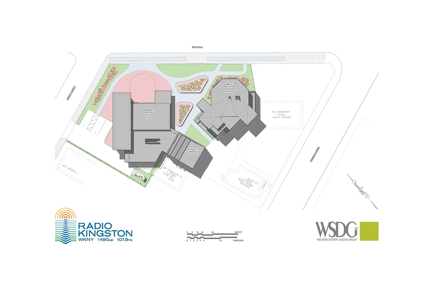 WSDG was retained to design a non-commercial contemporary broadcast/podcast facility for Radio Kingston WKNY new broadcast center. 3D building complex.