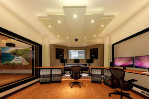 One of Hawaii's only schools providing students with both pro audio and pro video production training, the Washington Middle School reached out to WSDG to create a state-of-the-art dual-purpose teaching studio. Control Room front view render.