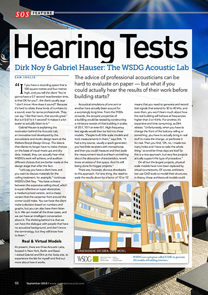 WSDG AcousticLab featured in Sound on Sound Magazine. Dirk Noy and Gabriel Hauser of WSDG Basel Office Interviewed. Page 1.