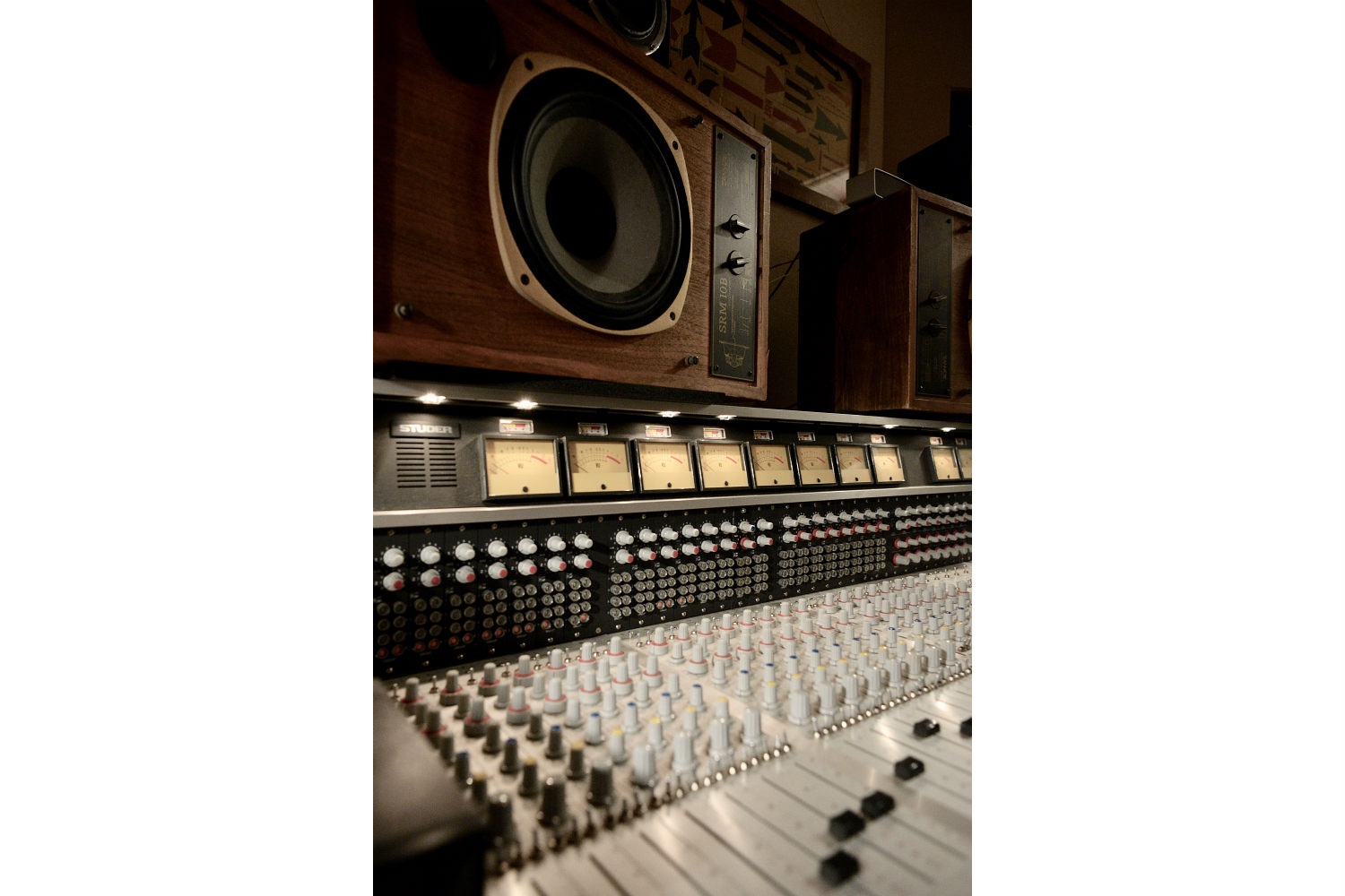 Jack Antonoff's XL Studios from his XL Recordings label, located in Soho, NYC, designed by WSDG. Close-up monitors