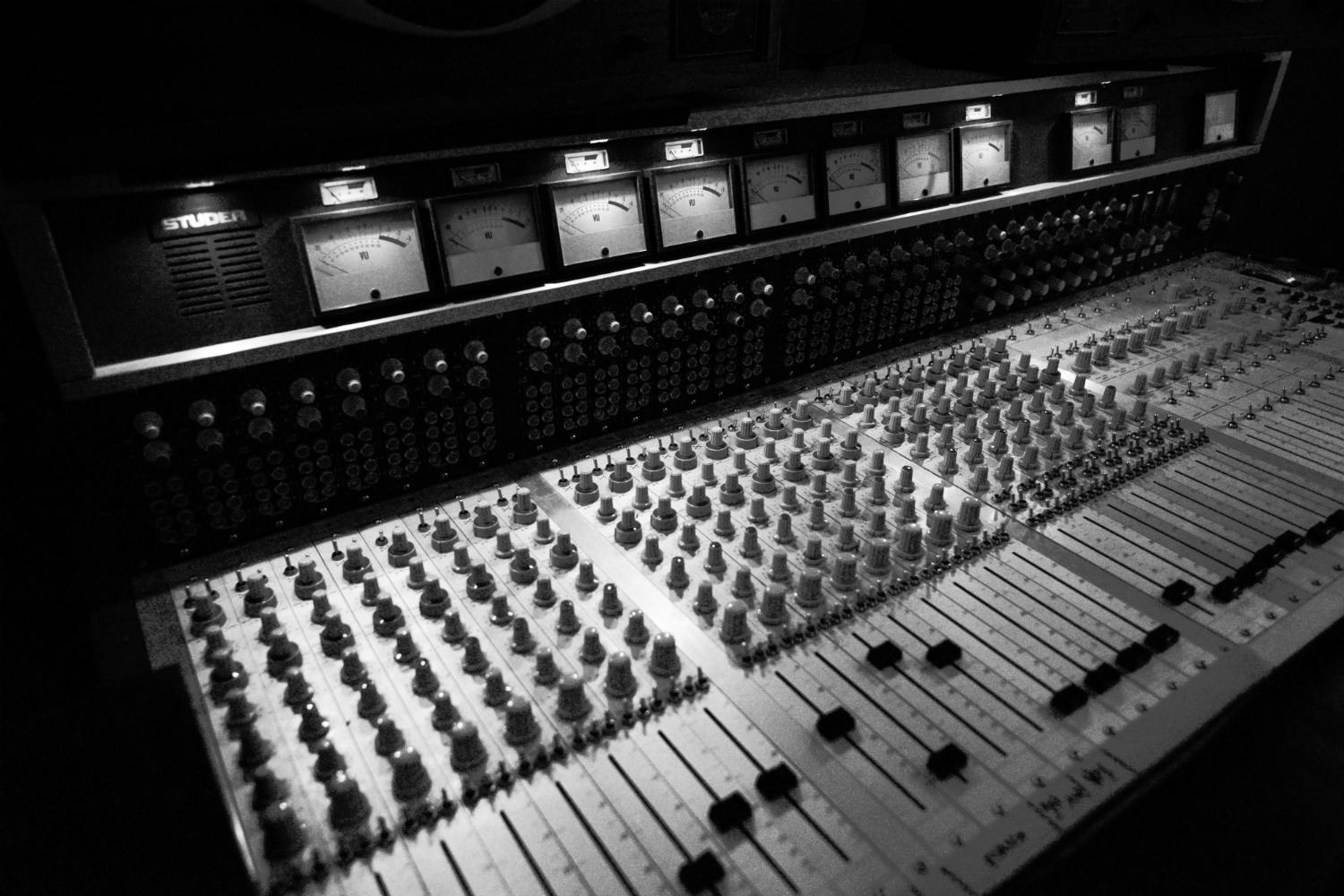 Jack Antonoff's XL Studios from his XL Recordings label, located in Soho, NYC, designed by WSDG. Control Room main console