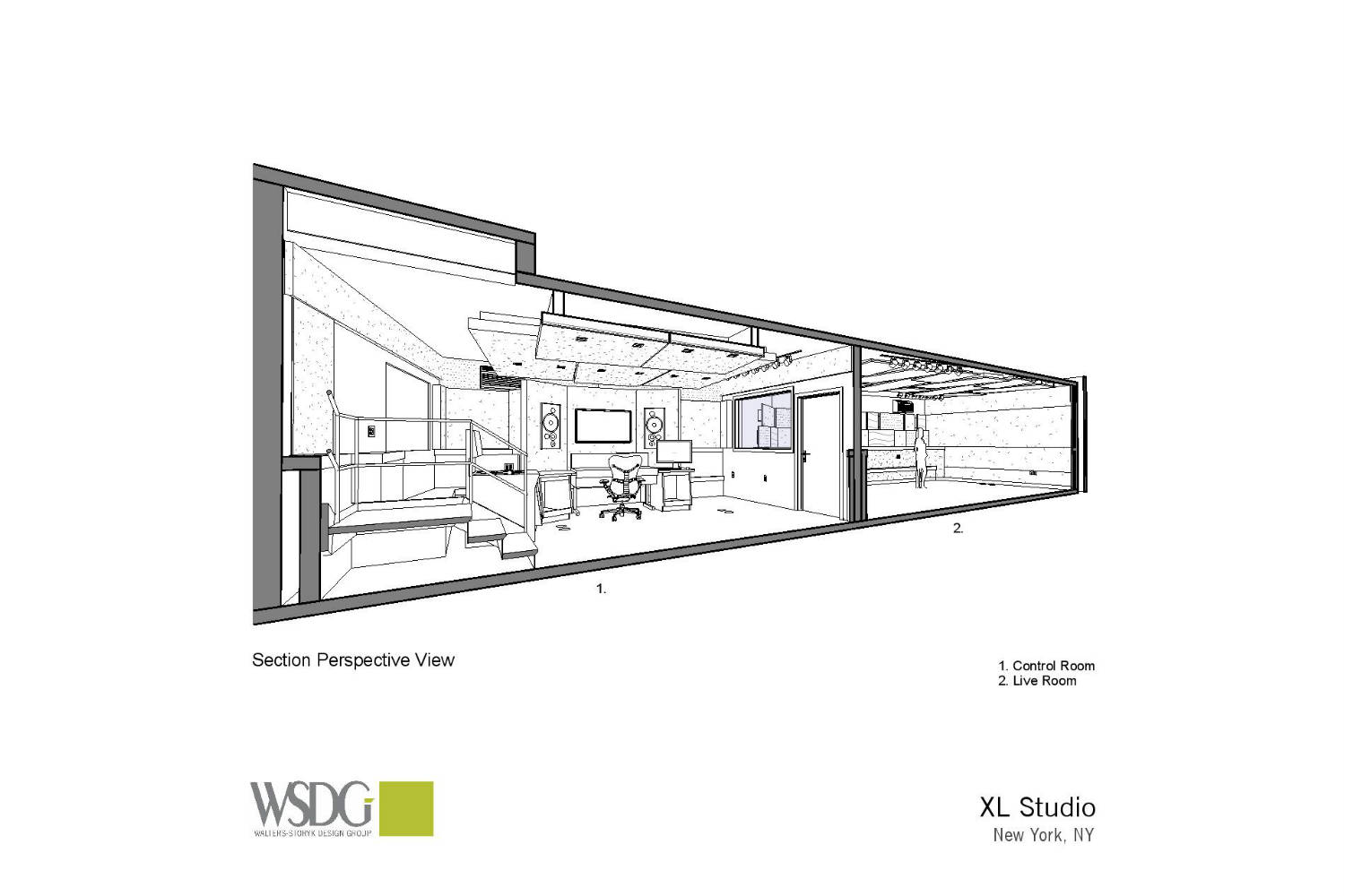 XL Studios in New York City designed by WSDG - Presentation Drawing 1
