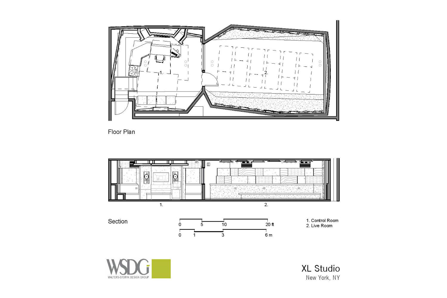 XL Studios in New York City designed by WSDG - Presentation Drawing 2