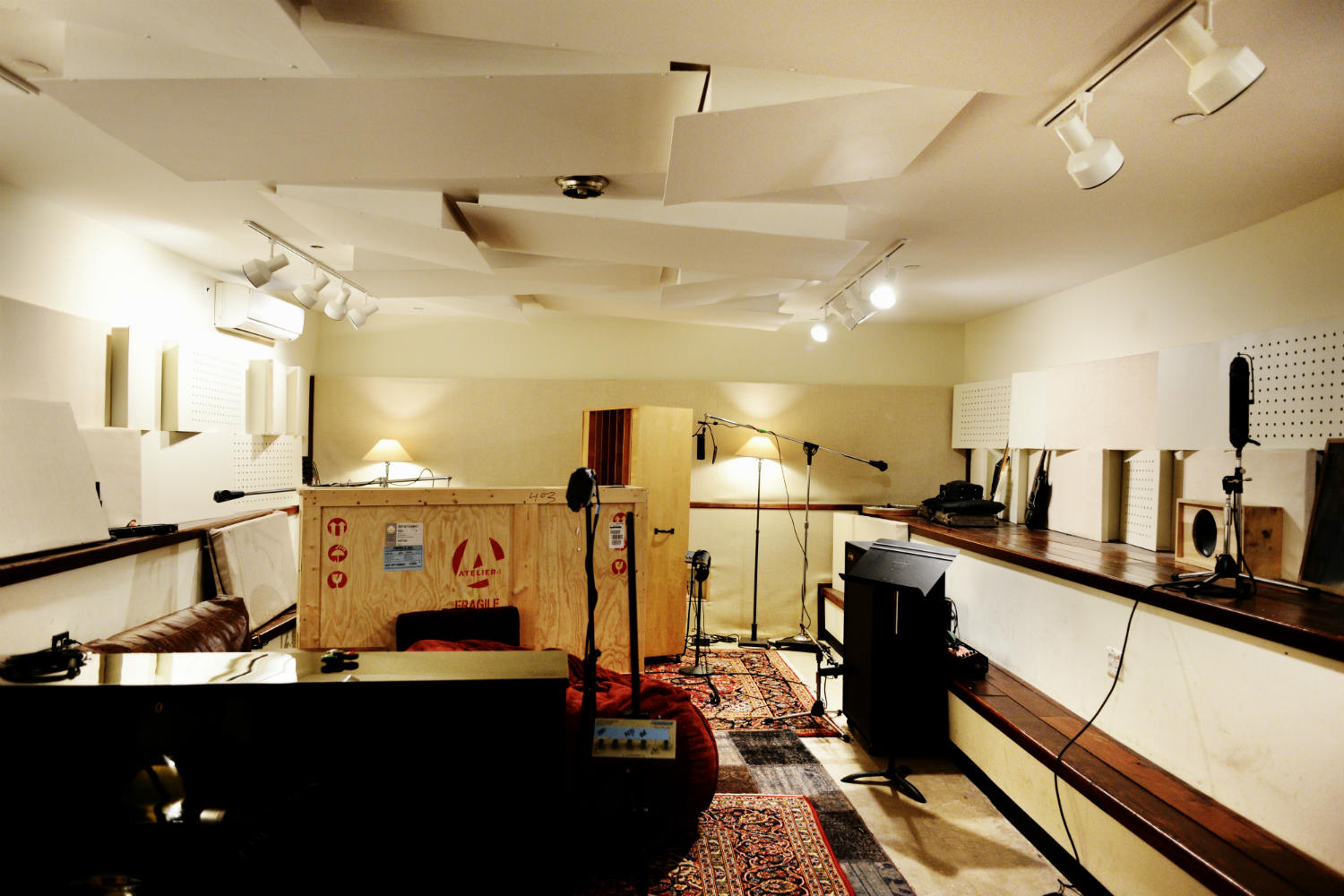 Jack Antonoff's XL Studios from his XL Recordings label, located in Soho, NYC, designed by WSDG. Live Room 2