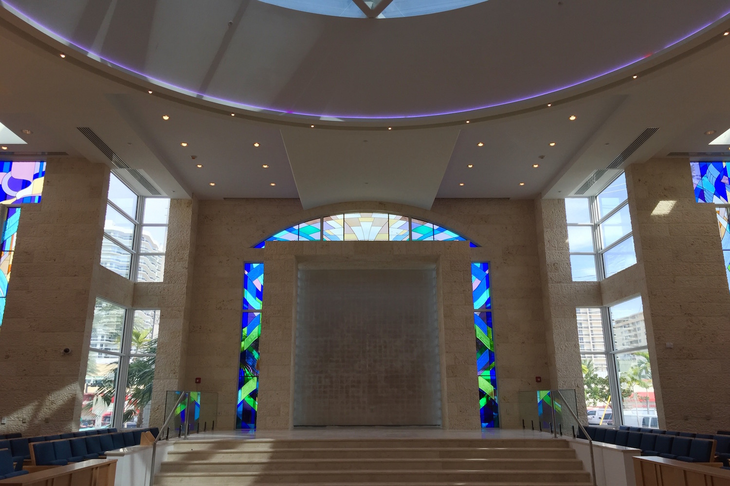 Young Israel Synagogue in Miami, FL with a brand-new look feautring feature porous Jerusalem Stone and acoustics designed by WSDG