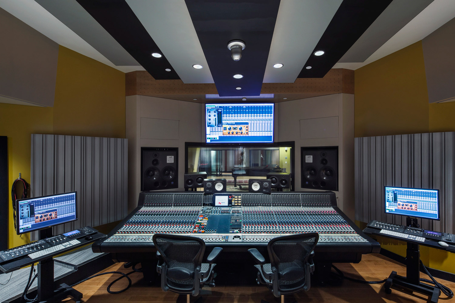Berklee College of Music 160 Mass Ave state-of-the-art new recording studios. Shames Family Scoring Stage is the biggest studio of the new complex. Designed by WSDG.