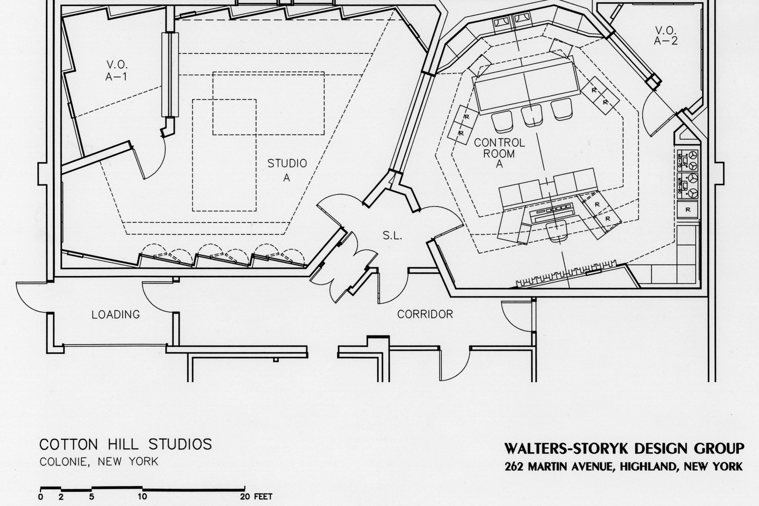 Former Cotton Hill Studios, now Magic Wig Productions. Designed by WSDG (Walters-Storyk Design Group). Presentation drawing 2.