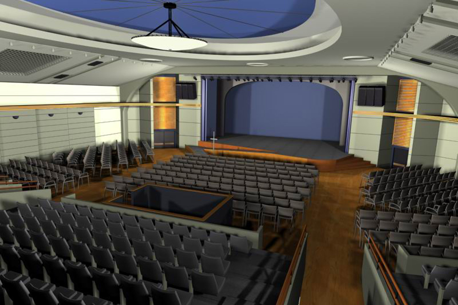 WSDG completed a major renovation project for Crossroads Tabernacle and Boden Center for The Performing Arts, a prominent inner-city church in The Bronx, NY. The facility includes an audio/video production studio, and a completely refurbished 800 seat theater. Theater Render 2.