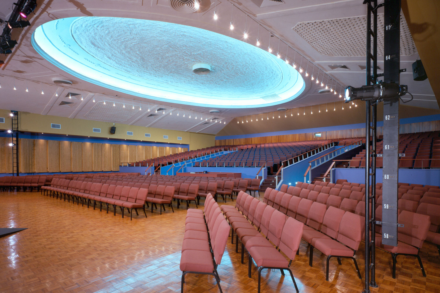 WSDG completed a major renovation project for Crossroads Tabernacle and Boden Center for The Performing Arts, a prominent inner-city church in The Bronx, NY. The facility includes an audio/video production studio, and a completely refurbished 800 seat theater. Theater worship side view.