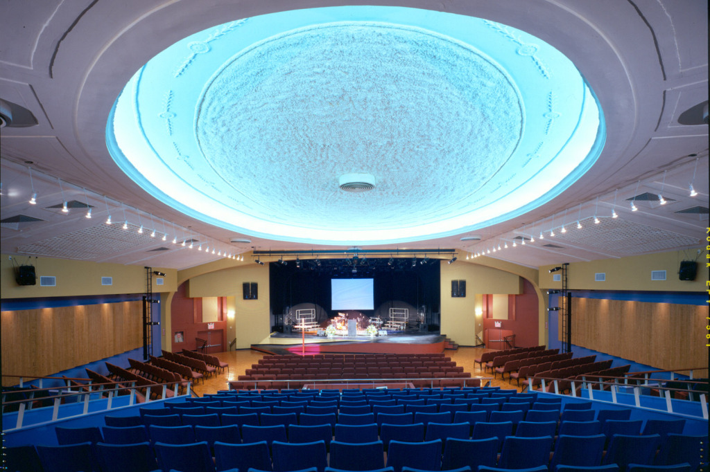 WSDG completed a major renovation project for Crossroads Tabernacle and Boden Center for The Performing Arts, a prominent inner-city church in The Bronx, NY. The facility includes an audio/video production studio, and a completely refurbished 800 seat theater. Theater back view.
