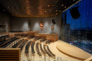 Jazz at Lincoln Center in Columbus Circus, NYC. Acoustic design and internal room acoustics by WSDG. Main photo.