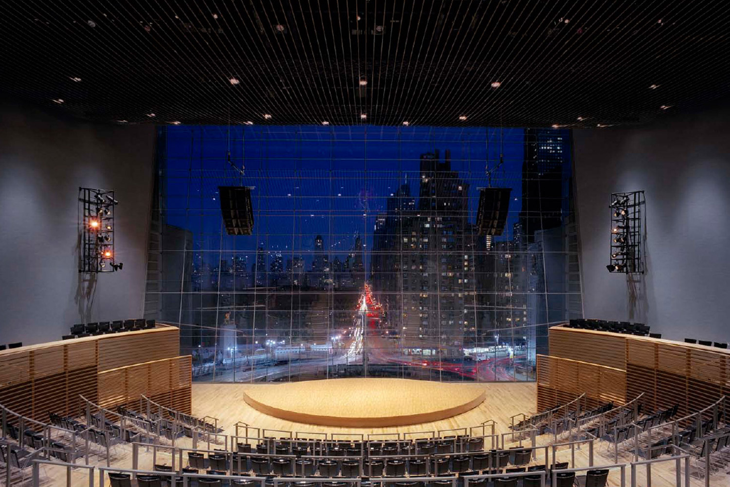 Jazz at Lincoln Center in Columbus Circus, NYC. Acoustic design and internal room acoustics by WSDG. Front city view.